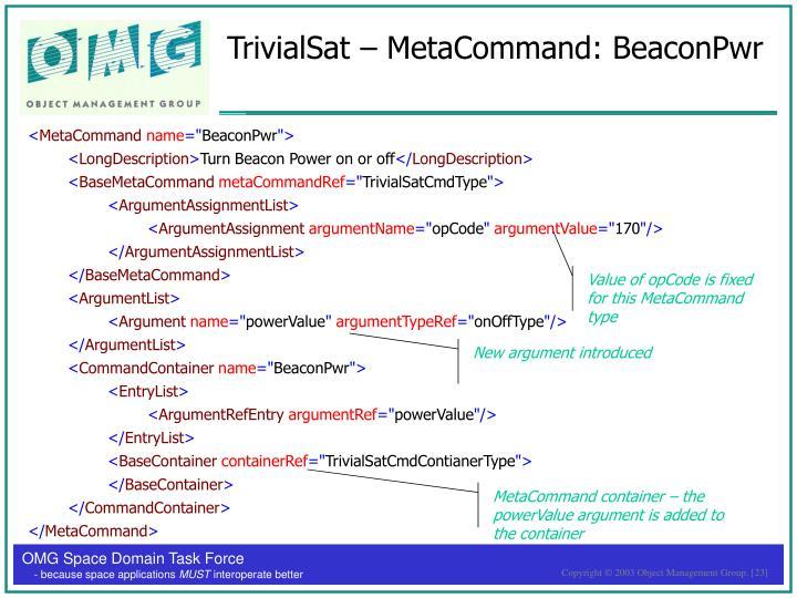 TrivialSat – MetaCommand: BeaconPwr