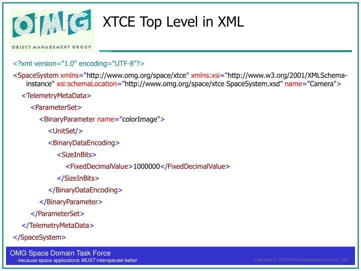 XTCE Top Level in XML