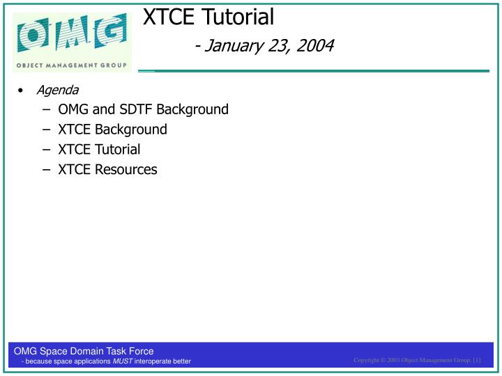 Xtce tutorial january 23 2004
