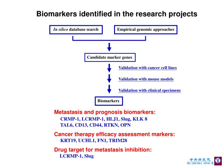 Biomarkers identified in the research projects