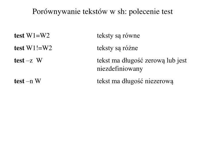 Porównywanie tekstów w sh: polecenie test
