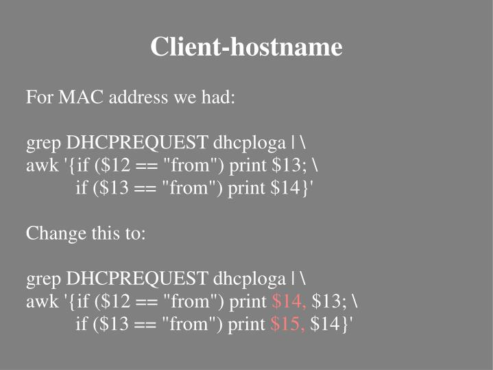 For MAC address we had: