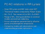 pc ac relations in rr lyraes