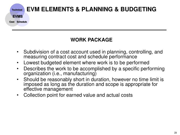 EVM ELEMENTS & PLANNING & BUDGETING