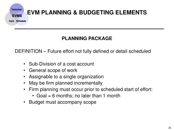 EVM PLANNING & BUDGETING ELEMENTS