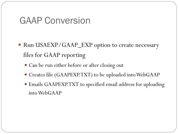 GAAP Conversion