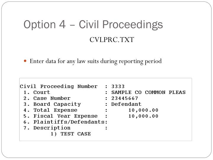 Option 4 – Civil Proceedings
