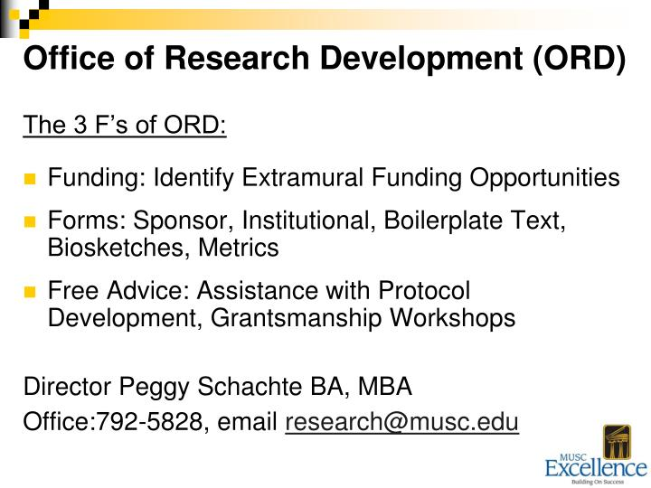 Office of Research Development (ORD)
