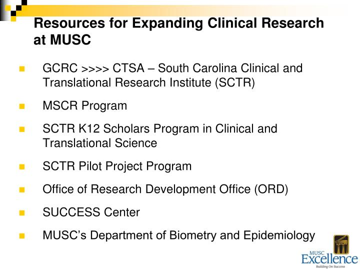 Resources for Expanding Clinical Research at MUSC