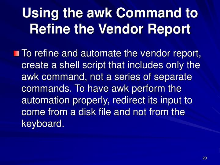 Using the awk Command to
