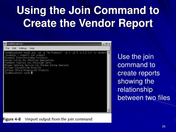 Using the Join Command to Create the Vendor Report