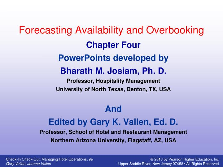 forecasting availability and overbooking n.