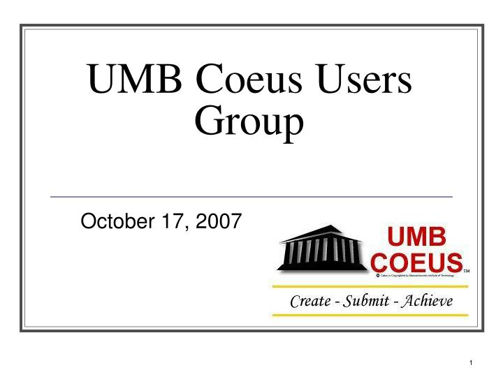 umb coeus users group n.