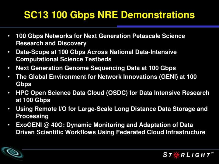SC13 100 Gbps NRE Demonstrations