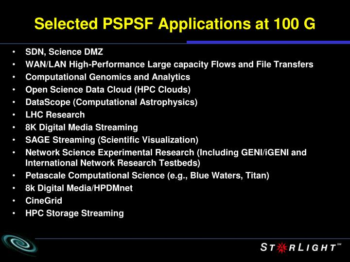 Selected PSPSF Applications at 100 G