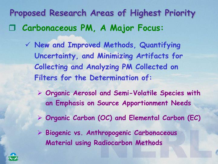 Proposed research areas of highest priority1
