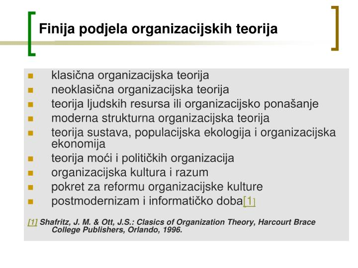 Finija podjela organizacijskih teorija