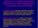 sporbert et al 2002 addresses mechanisms of dna replication in living cells using gfp pcna