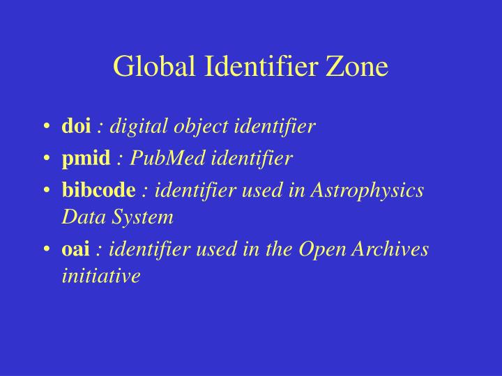 Global Identifier Zone