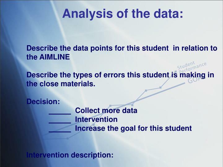 Analysis of the data: