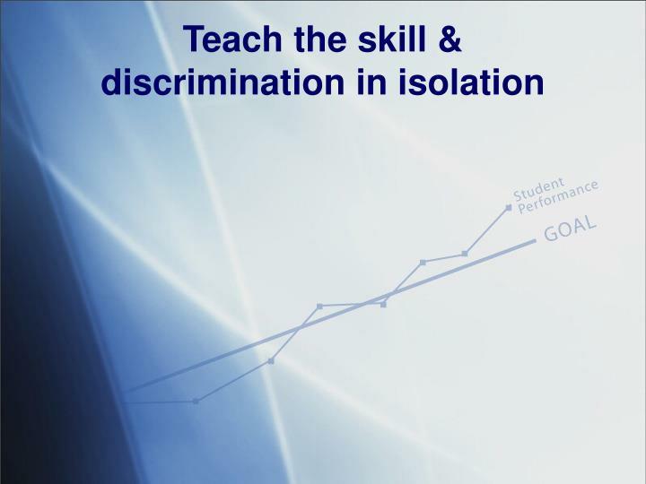 Teach the skill &