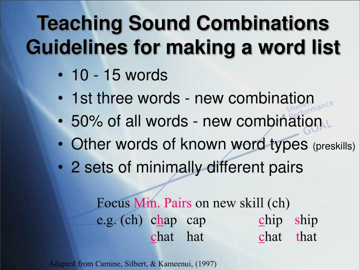 Teaching Sound Combinations Guidelines for making a word list