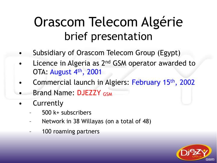 Orascom telecom alg rie brief presentation