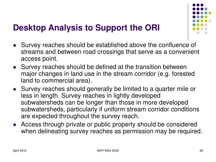 Desktop Analysis to Support the ORI