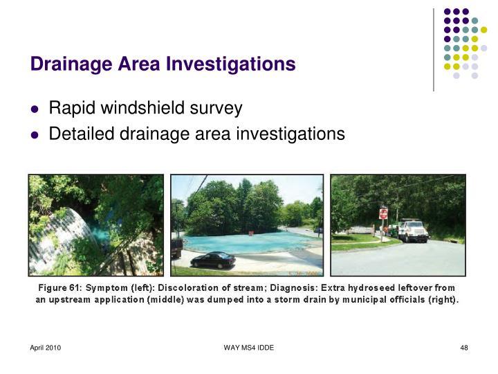 Drainage Area Investigations