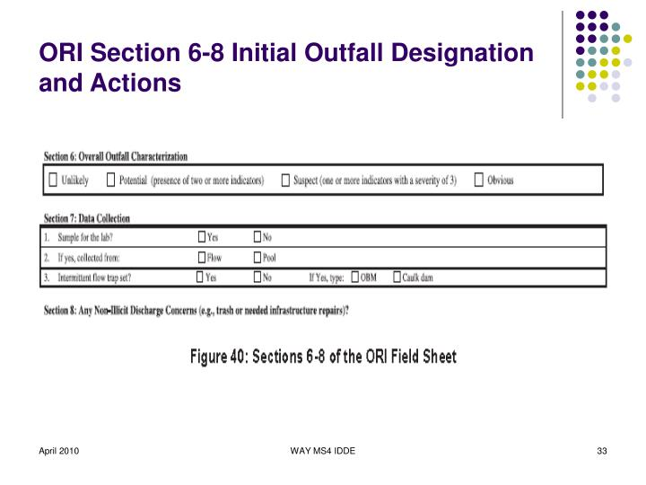 ORI Section 6-8 Initial Outfall Designation and Actions
