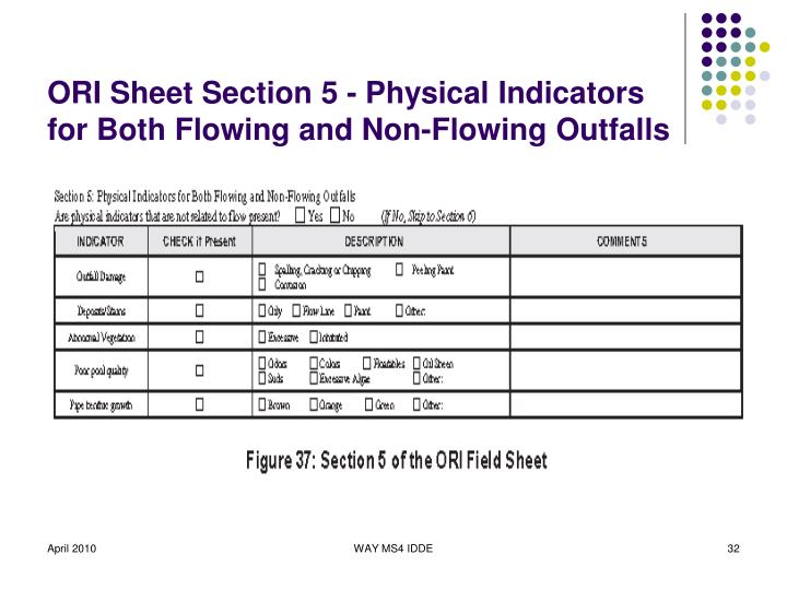 ORI Sheet Section 5 - Physical Indicators for Both Flowing and Non-Flowing Outfalls