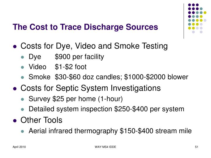 The Cost to Trace Discharge Sources