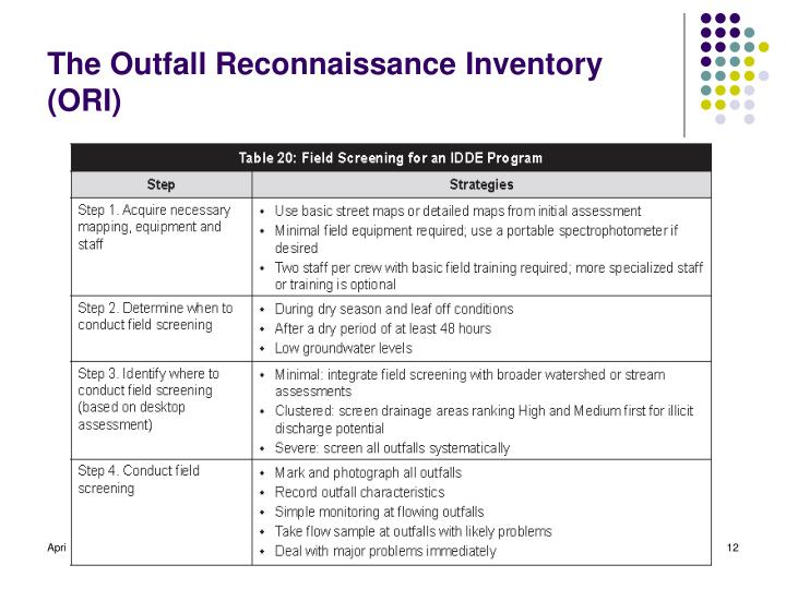 The Outfall Reconnaissance Inventory (ORI)