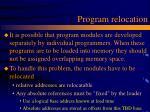 program relocation