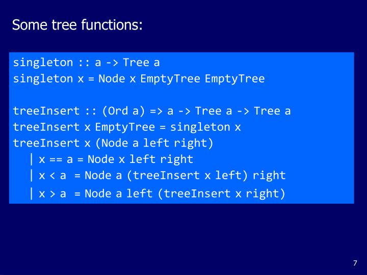 Some tree functions: