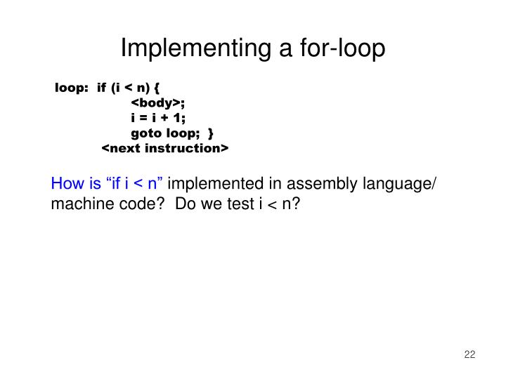 Implementing a for-loop