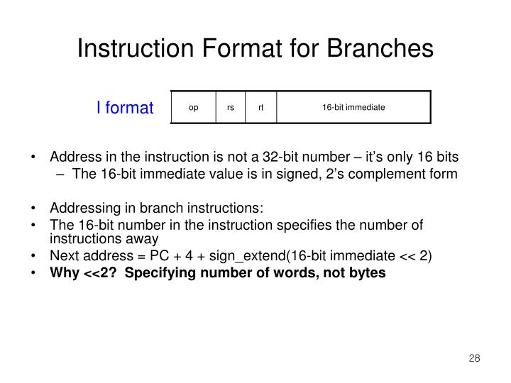 Instruction Format for Branches