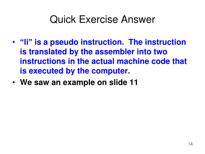 Quick Exercise Answer