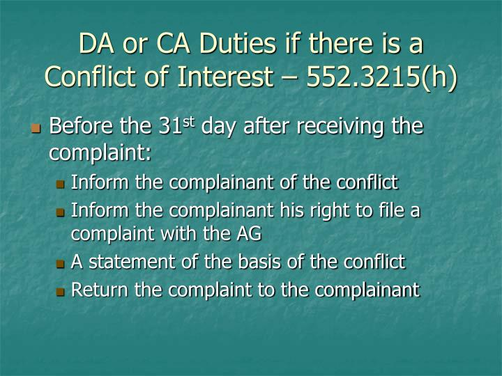 DA or CA Duties if there is a Conflict of Interest – 552.3215(h)