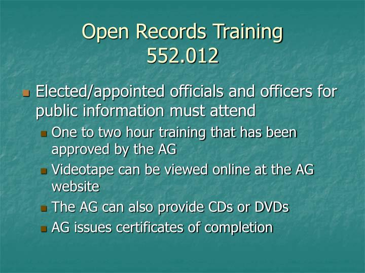 Open Records Training