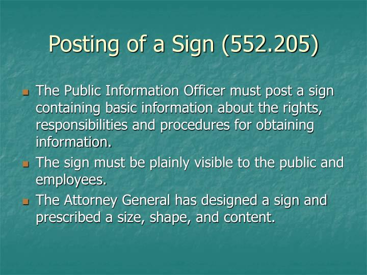 Posting of a Sign (552.205)