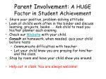 parent involvement a huge factor in student achievement