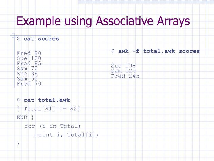Example using Associative Arrays