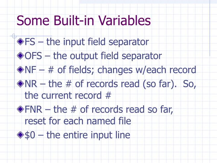 Some Built-in Variables