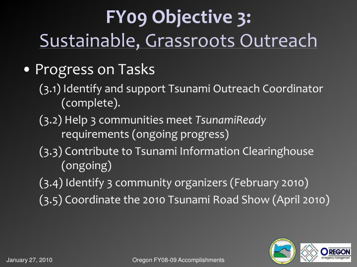 FY09 Objective 3: