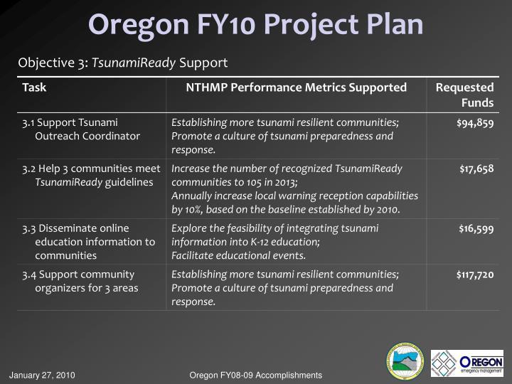 Oregon FY10 Project Plan