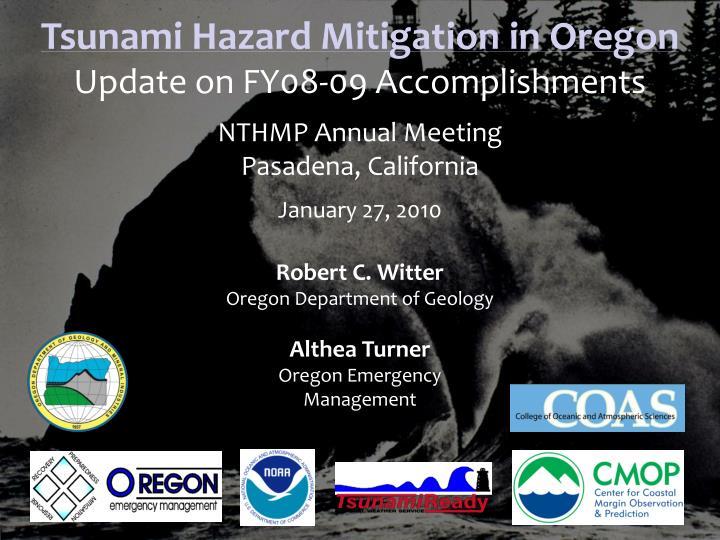 Tsunami Hazard Mitigation in Oregon