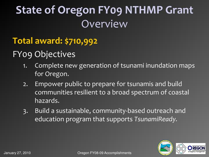 State of Oregon FY09 NTHMP Grant