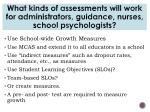 what kinds of assessments will work for administrators guidance nurses school psychologists