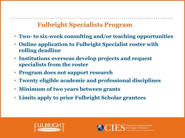 Fulbright Specialists Program